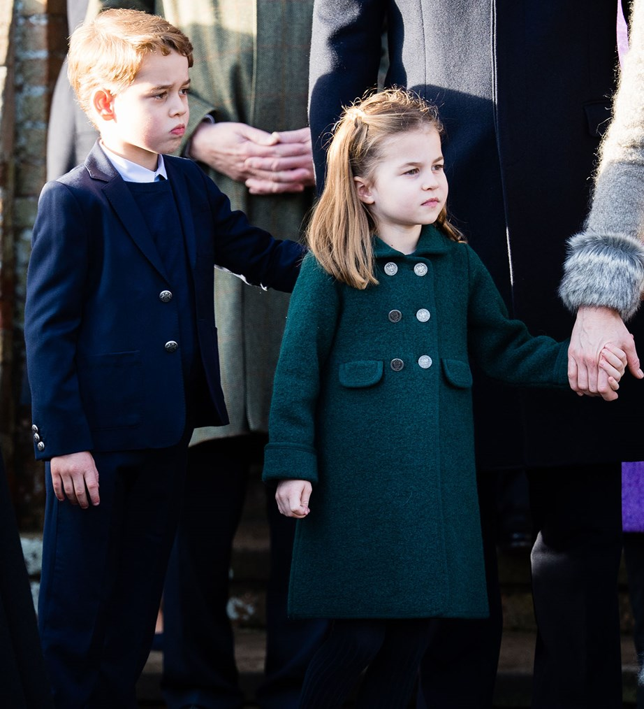 Prince George and Princess Charlotte joined the rest of the royal family to a Christmas Day service at St Mary Madgalene Church. *(Image: Getty)*