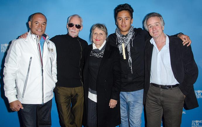 Robin at the 2016 Sydney Film Festival premiere of *Mahana* with (from left): actor Temuera Morrison, director Lee Tamahori, actor Akuhata Keefe and writer John Collee.