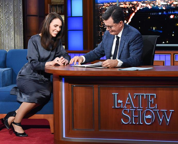 Jacinda on The Late Show with Stephen Colbert.