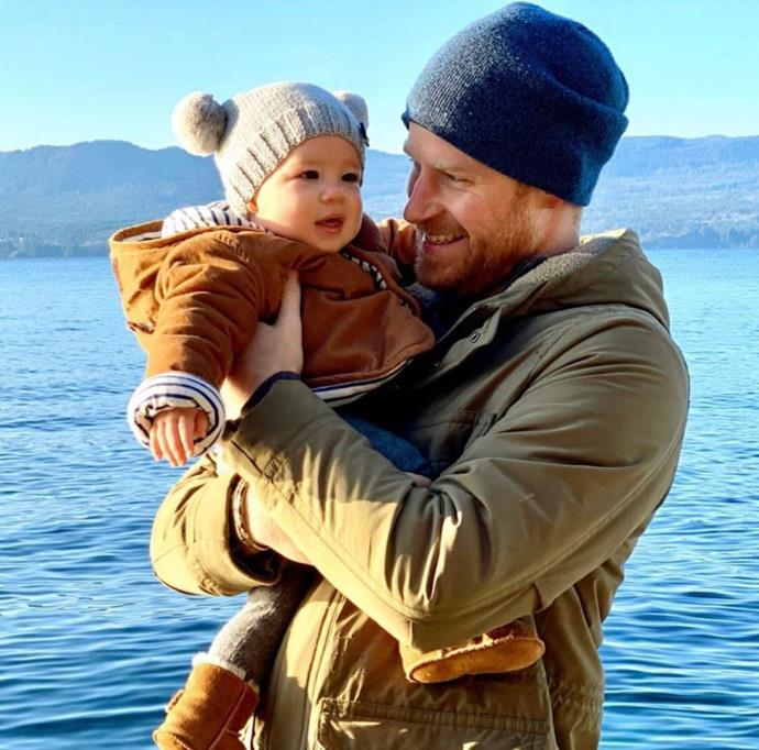 Sussex Royal released a video documenting highlights from 2019, which included this adorable image of baby Archie and Prince Harry, presumably during their holiday in Canada. *(Image: Instagram/@SussexRoyal)*