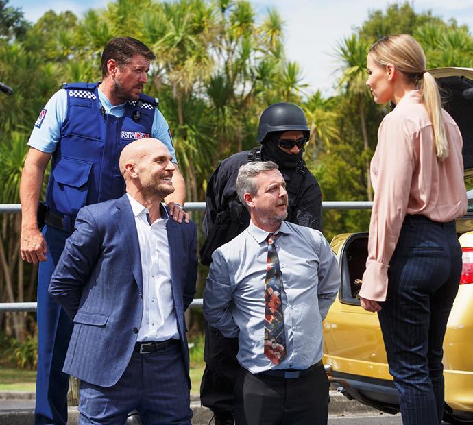 Shorty suspects! Detective Natalie Mahoney grills Dr Drew (Ben Barrington, left) and IT's Damo Johnson (Grant Lobban).