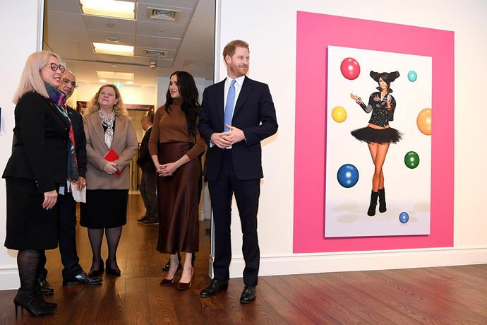 Meghan and Harry viewed an exhibition by Indigenous Canadian Skawennati during their visit. *(Image: Getty)*