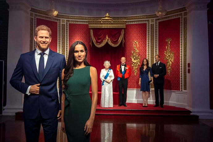 The Duke and Duchess of Sussex will no longer appear with the Queen, the Duke of Edinburgh and the Duke and Duchess of Cambridge at Madame Tussauds in London, following their shock announcement this week. *(Image: Getty)*