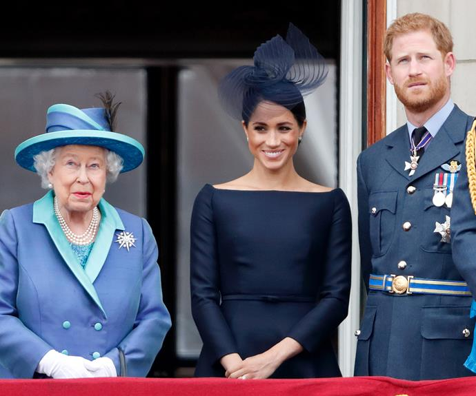 The Queen has released her first, personal statement since Harry and Meghan announced they planned to step down as senior members of the royal family. *(Image: Getty)*