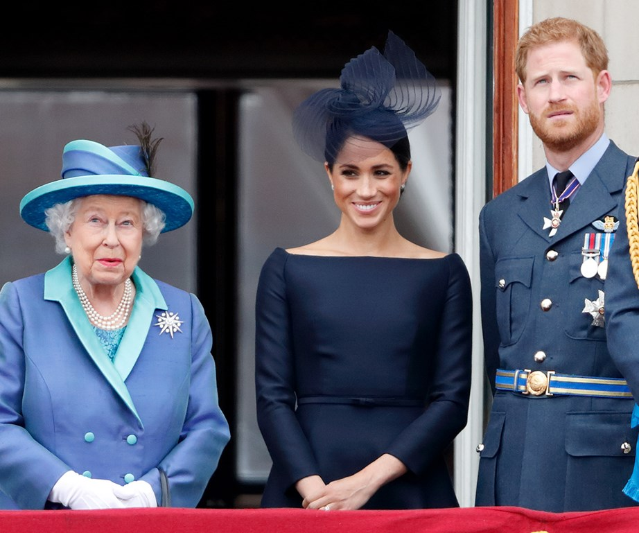 "The Queen says she is ""particularly proud of how Meghan has so quickly become one of the family."" *(Image: Getty)*"