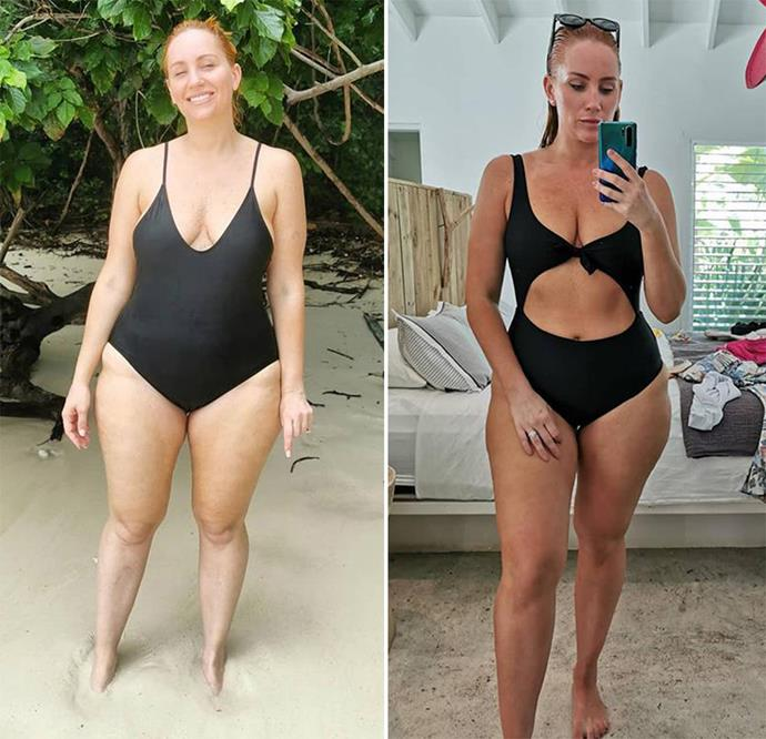 "Jules shared photos of herself before and after her 9kg weight loss saying that while she's not ""obsessing"" over how many kilos she loses, she is already feeling ""healthier and stronger"". *(Image: Instagram/@julesrobinson82)*"