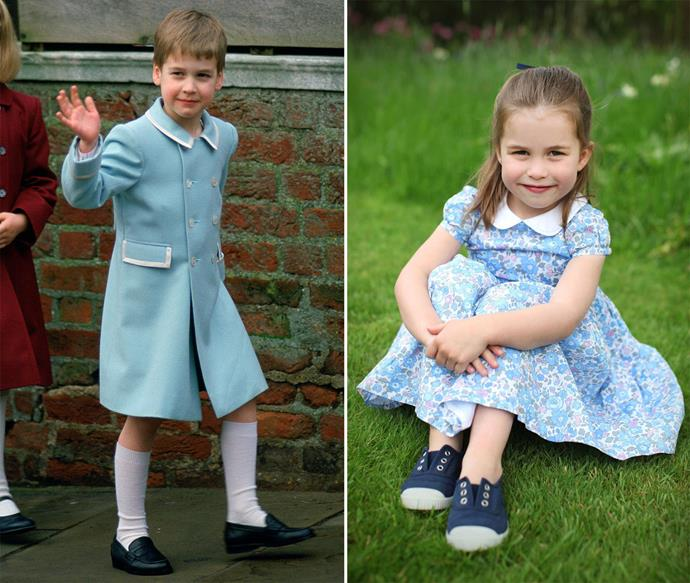 The similarities between young Prince William and little Princess Charlotte are undeniable! *(Images: Getty, Instagram/@KensingtonRoyal)*