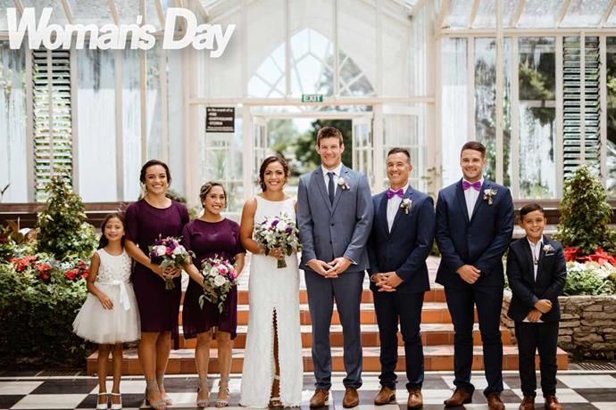 "The happy couple with their ""Plan B"" wedding party (from left) Stacey's niece Shaarae Waaka, Theresa, Elizah, Ricky's brothers Wade Lambert and Joey Fluhler, and nephew Buddy Lambert."