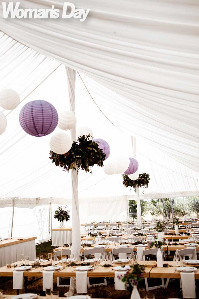 The marquee was styled by Stacey's aunt, a professional decorator.
