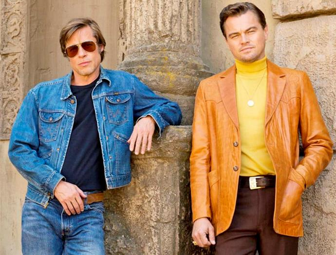 Brad in Once Upon a Time in Hollywood with Leonardo DiCaprio.