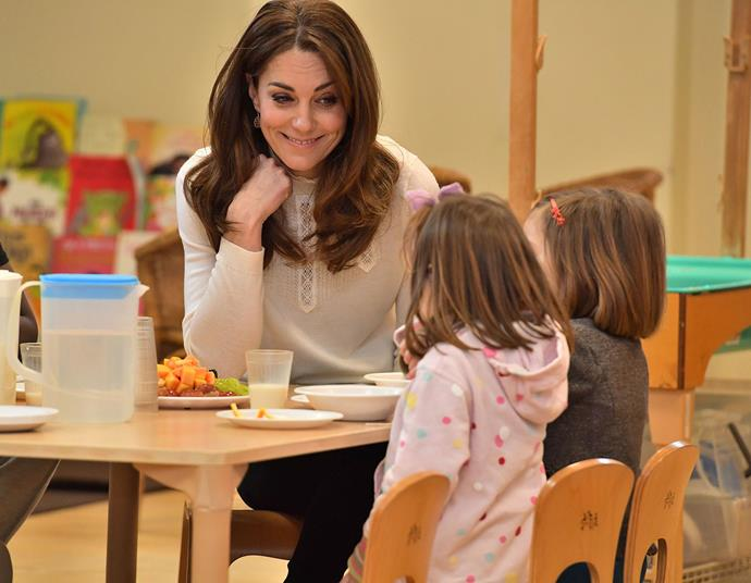 Duchess Catherine surprised kindergarten children with breakfast. *(Image: Getty)*