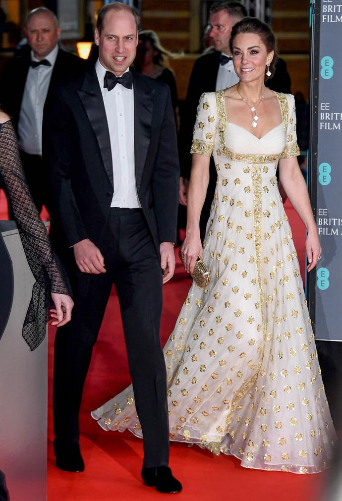 Duchess Catherine looked gorgeous in her recycled Alexander McQueen gown for this year's BAFTAs. *(Image: Getty)*
