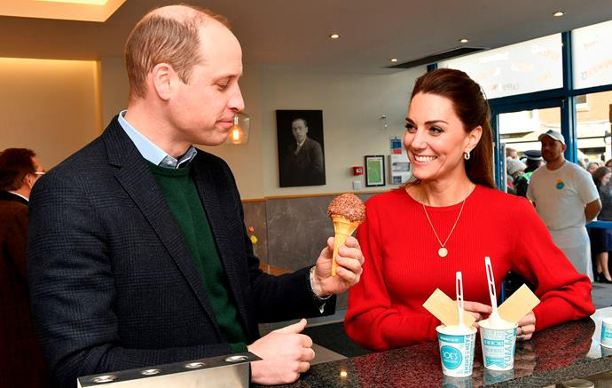 As well as tasting ice cream at the parlour, the royal couple also spoke to local parents about Duchess Catherine survey, 5 Big Questions. *(Image: Getty)*