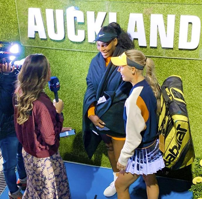 Courtney's big moment interviewing Serena Williams and Caroline Wozniacki