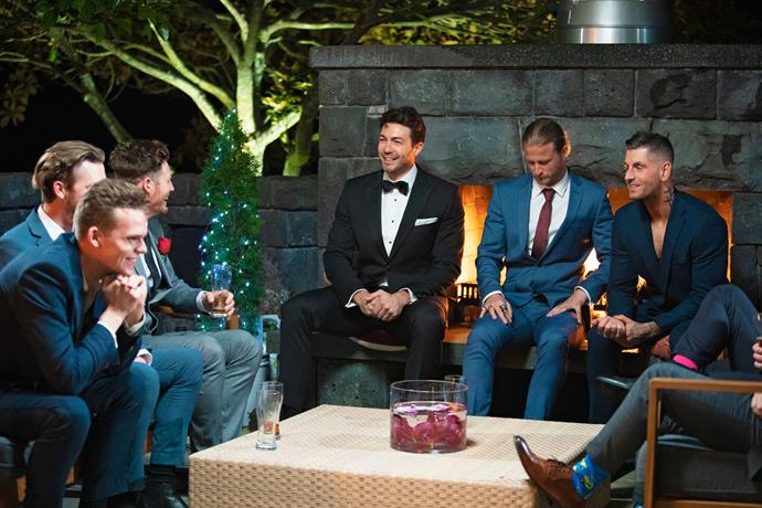 Art chatting to the bachelors on *The Bachelorette*.
