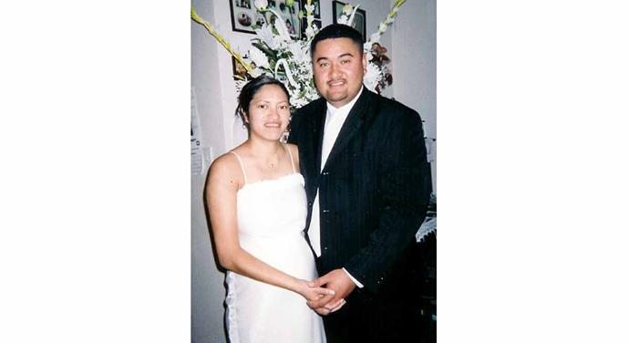 Their wedding day in 2005.