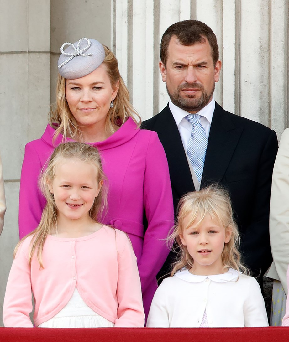 Autumn and Peter Phillips with their daughters Savannah and Isla at Trooping the Colour last year. *(Image: Getty)*