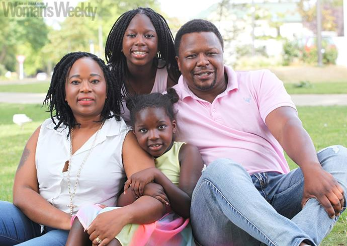 Karen with her family, from back, Keisha, Bert and Mikyla