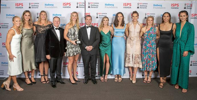Peter Phillips and Sir John Key with the Silver Ferns at the 2020 Halberg Awards. *(Image: Getty)*