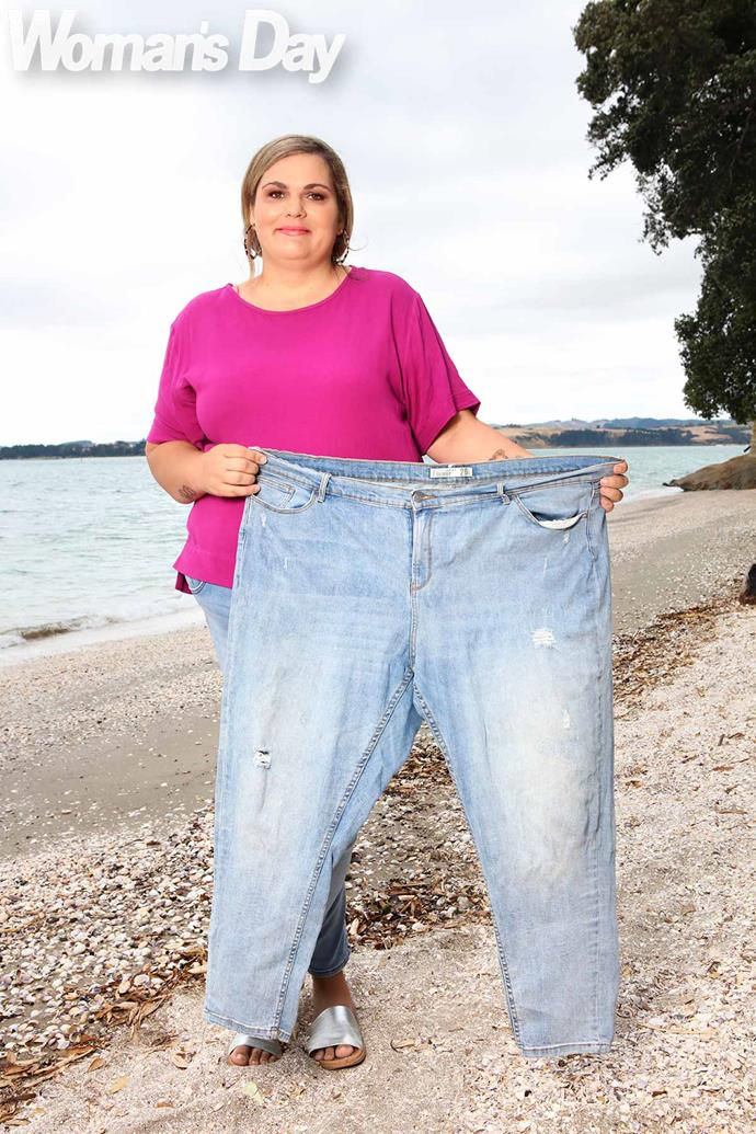 Lisa now, 65kg slimmer, says she would love to be able to fit into her old faithfuls.