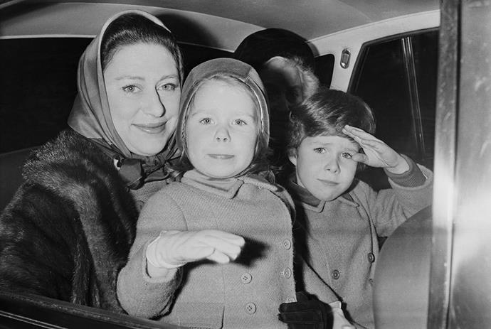 Young David with his mother Princess Margaret and sister Lady Sarah. *(Image: Getty)*