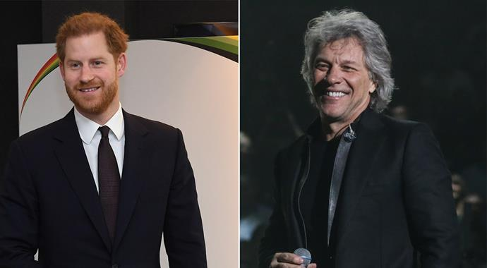 Prince Harry and Jon Bon Jovi have teased an upcoming collab. *(Images: Getty)*