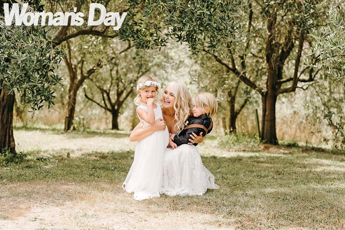 Clint's cute kids Cameron and Ty (left) already call the bride Aunty Bex. *(Photography by Samantha Donaldson)*