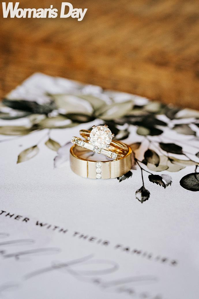 Bex chose a custom-made band from Culet Jewellery to sit alongside her engagement ring, while Bevan opted for a gold and diamond band from Michael Hill Jeweller. *(Photography by Samantha Donaldson)*
