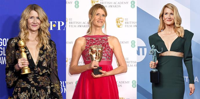 Laura had a clean sweep during awards season, as well as the Oscar she also won (from left) a Golden Globe, a BAFTA and a SAG award.