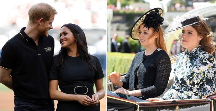 Harry and Meghan have seemingly compared the situation of their 'HRH' titles with that of their cousins Princesses Beatrice and Eugenie, noting that they are being treated differently. *(Images: Getty)*