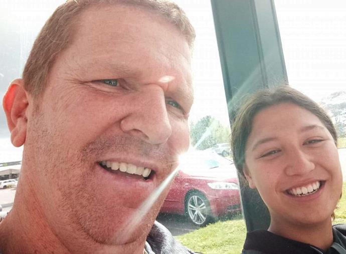 Halayna at age 16, teaching her dad to take selfies.