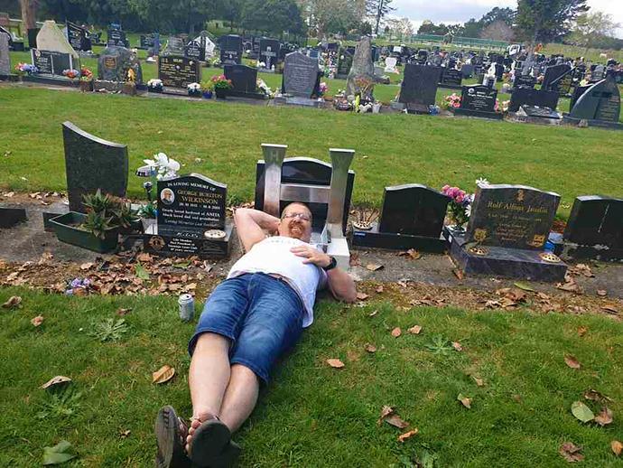 Darren often visits Halayna's grave.