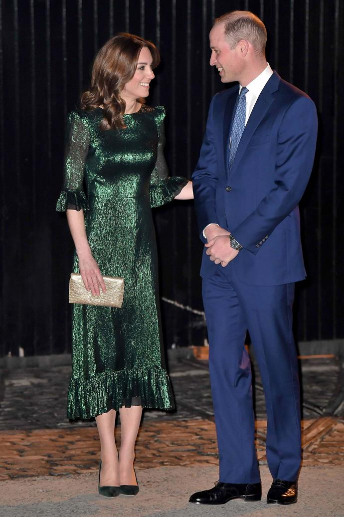 Catherine stunned in a metallic emerald dress at a reception at the Guinness Storehouse in Dublin. *(Image: Getty)*