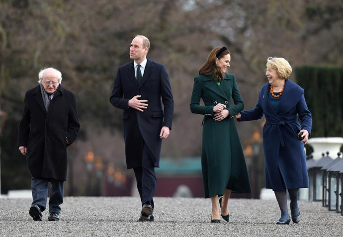 William and Catherine with the President of Ireland Michael D. Higgins and his wife Sabina. *(Image: Getty)*