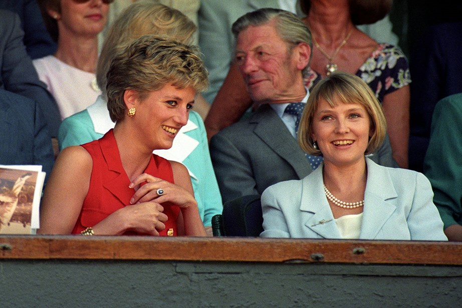 The late Princess Diana with her good friend Julia Samuel in 1994. *(Image: Getty)*