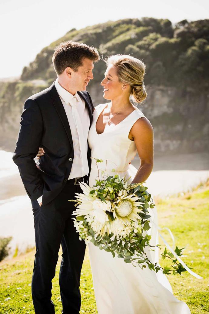 Kylie and Dan (Ryan O'Kane) on their wedding day.