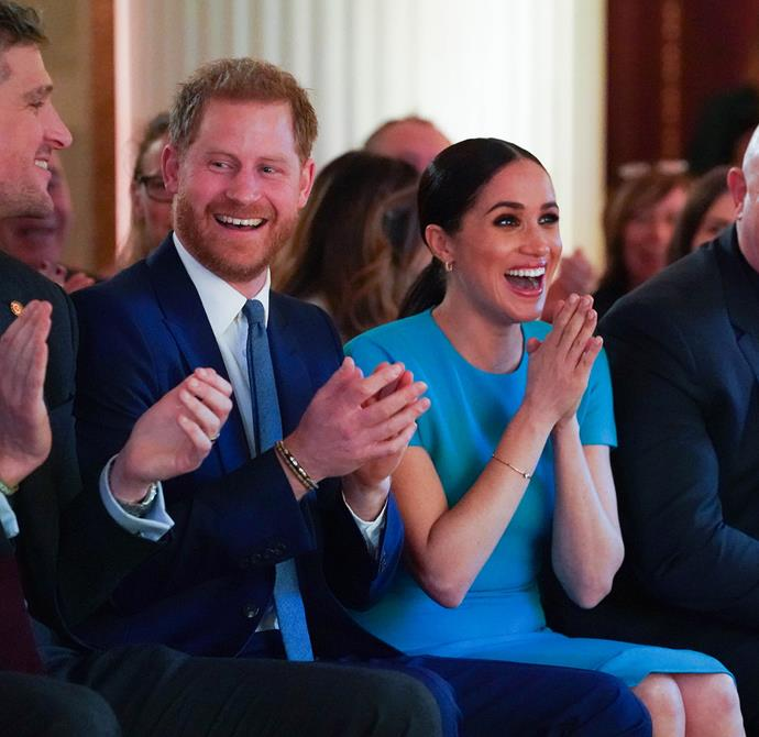 Harry and Meghan both presented awards at the evening, which was hosted by Invictus Games medallist and good friend of Harry's JJ Chalmers. *(Image: Getty)*