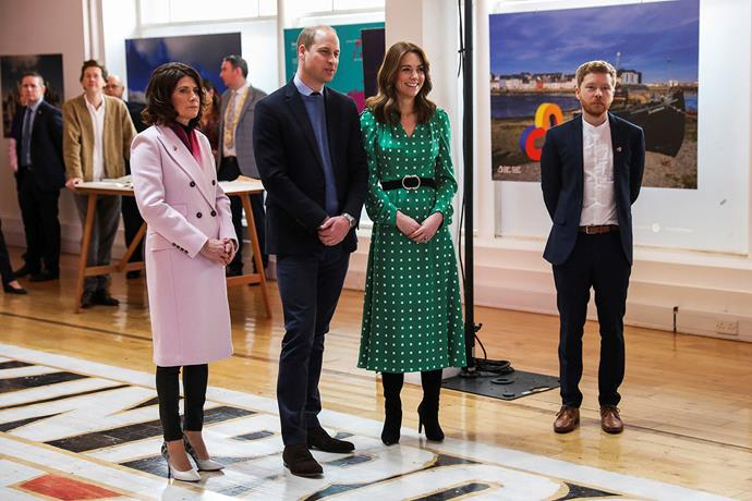 William and Catherine watch a performance by the band NØÖV and revealed George was learning the guitar. *(Image: Getty)*