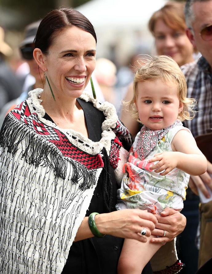 Jacinda Ardern attended this year's Waitangi Day celebrations with daughter Neve. Julie Anne was also there with Joaquin.   Photo: Getty