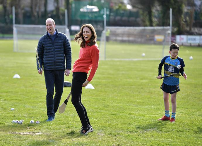 The future queen looked like she was having a ball as she tried out hurling. *(Image: Getty)*