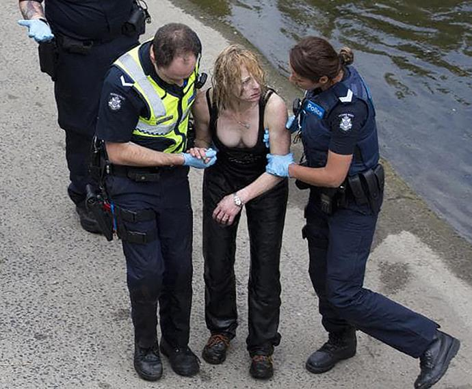 Robyn Lindholm was arrested after being found hiding in a drain.
