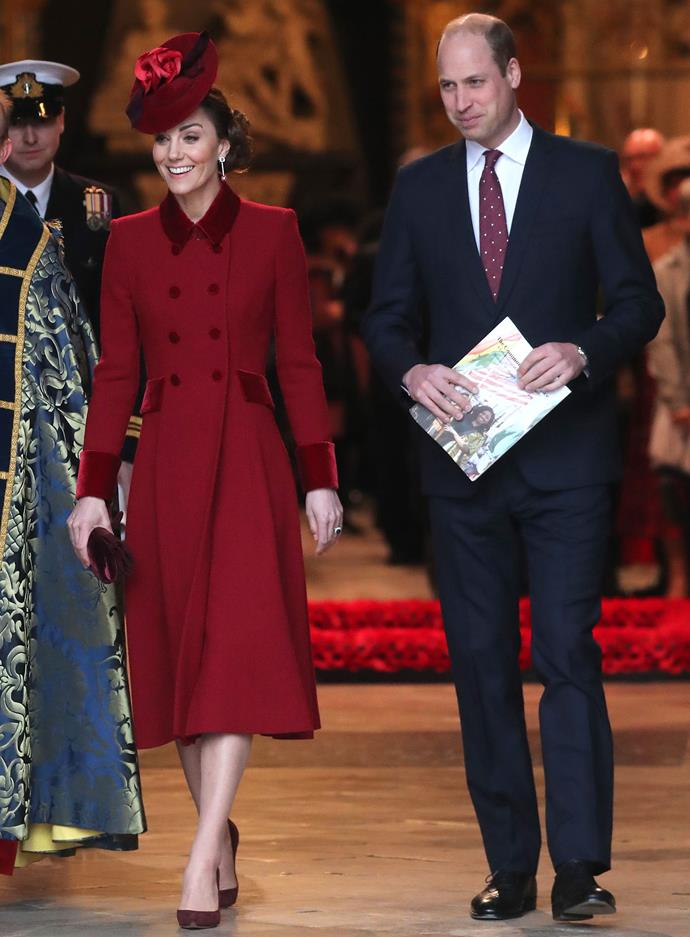 Duchess Catherine looked glamorous in a burgundy coat dress by Catherine Walker while Prince William wore a matching tie. *(Image: Getty)*