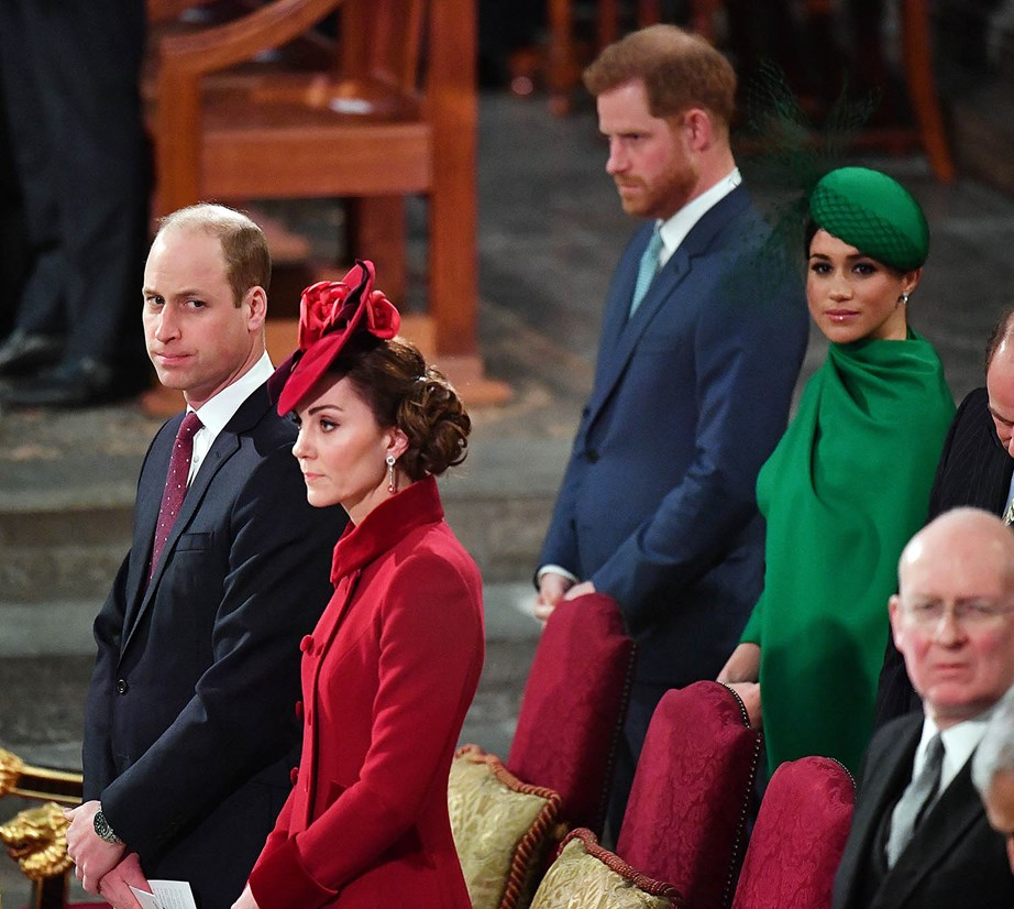 'Fab Four' no more: The Cambridges and the Sussexes at Monday's Commonwealth Day service. *(Image: Getty)*
