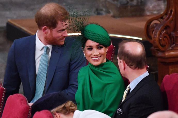 Meghan chats with Prince Edward before the service. *(Image: Getty)*