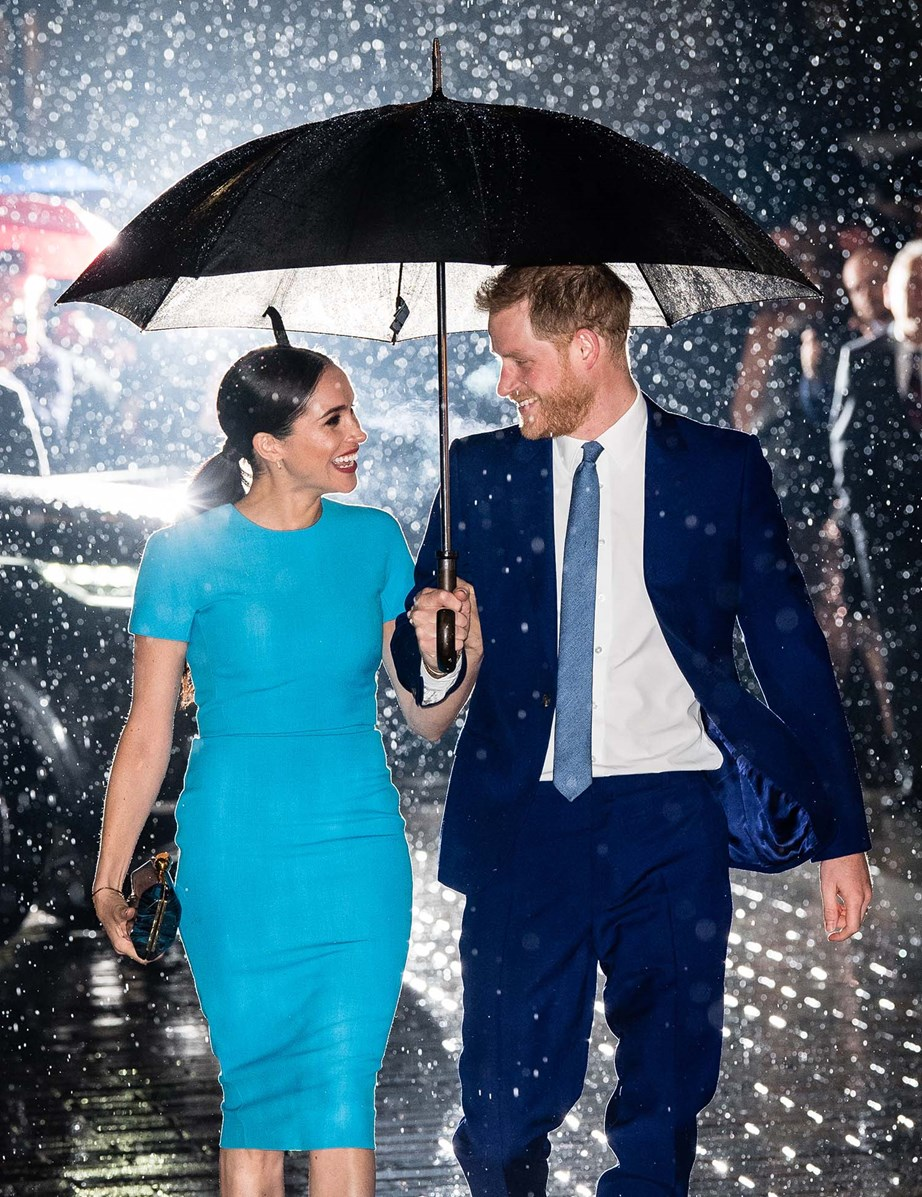 Meghan and Harry during their 'farewell tour' in the UK earlier this month. *(Image: Getty)*
