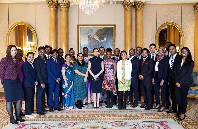 Duchess Meghan with young Association of Commonwealth Universities scholars on Monday. *(Image: Chris Allerton/ Getty)*