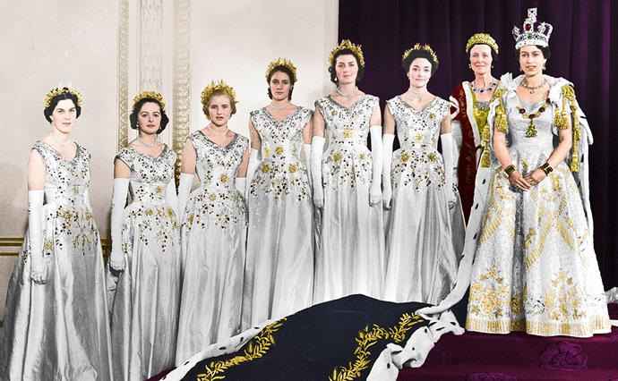 Lady Anne (third from left) was one of six maids of honour at the Queen's coronation ceremony in June 1953.