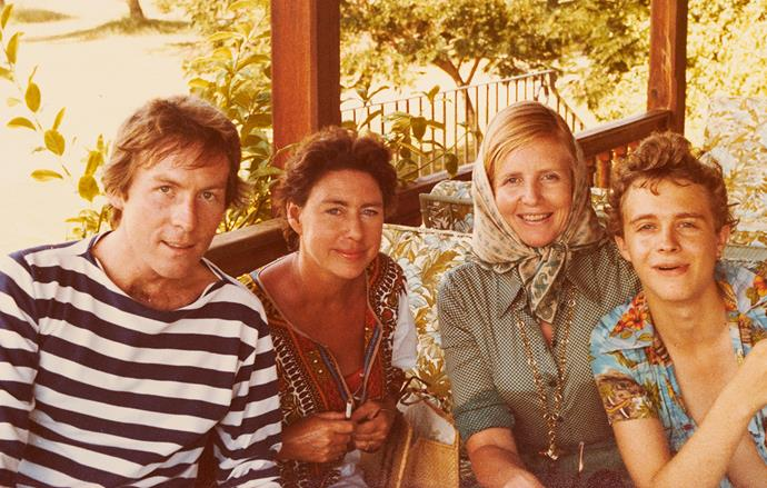 Anne with Roddy Llewellyn, Margaret and son Charlie on Mustique in the 1970s