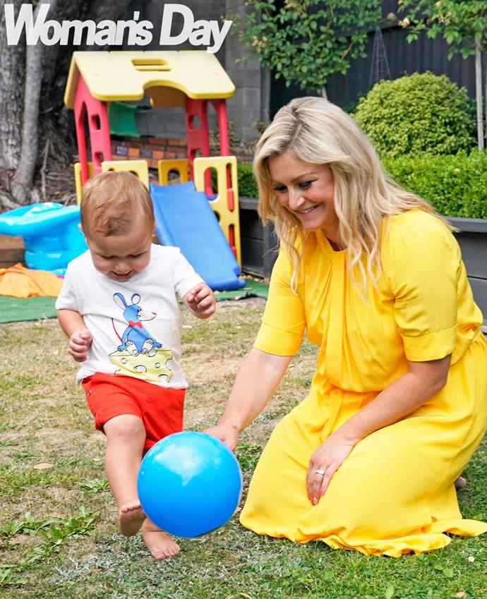 On the ball! As a new host on Coast, Toni can juggle work with plenty of playtime with her boy.