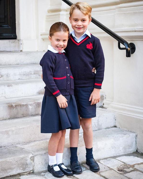 Princess Charlotte on her first day at Thomas's Battersea. *(Image: Instagram/Duchess of Cambridge)*